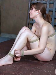 Pretty girl with glasses has pussy caned, binder clips ..